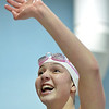 Fairview's Lacey Smith waves at fans after swimming in the 50 yard freestyle during the Colorado Coaches Association Invitational at the Veterans Memorial Aquatic Center in Thornton on Saturday.<br /> December 14, 2012<br /> staff photo/ David R. Jennings