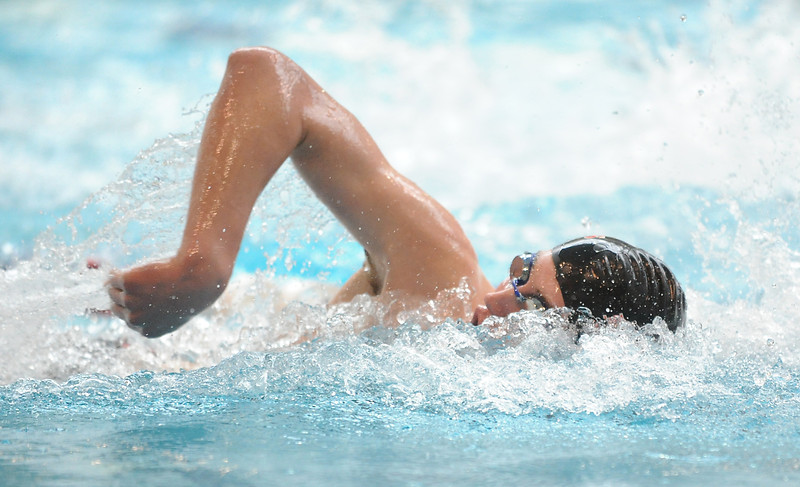 Fairview's Miles MacKenzie swims in the finals of the 50 yard freestyle event during the Dick Rush Coach's Invitational Swim Meet at the Veterans Memorial Aquatic Center in Thornton on Saturday.<br /> March 31, 2012 <br /> staff photo/ David R. Jennings