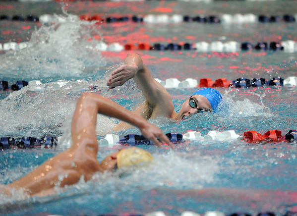 Broomfield's Martin Wallace swims ahead of the competition in the 500 yard freestyle finals at the Dick Rush Coach's Invitational Swim Meet at the Veterans Memorial Aquatic Center in Thornton on Saturday.<br /> March 31, 2012 <br /> staff photo/ David R. Jennings