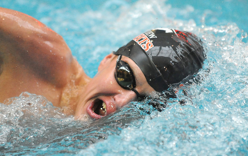 Fairview's Alex Walton swims in the 500 yard freestyle finals at the Dick Rush Coach's Invitational Swim Meet at the Veterans Memorial Aquatic Center in Thornton on Saturday.<br /> March 31, 2012 <br /> staff photo/ David R. Jennings