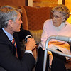 Senator Mark Udall, left, chats with Josephine Kater Robinson, 92, a WWII WASP, Women Airforce Service Pilots, before giving the Congressional Gold Medal to Robinson at The Stratford at the Flatirons on Saturday.<br /> May 22, 2010<br /> Staff photo/ David R. Jennings