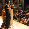 Congressman Jared Polis, 2nd Congressional District,  answers questions from students in the Legacy 2000 program, on Thursday, in the auditorium of Legacy High School. <br /> <br /> Sept. 3, 2009<br /> staff photo/David R. Jennings