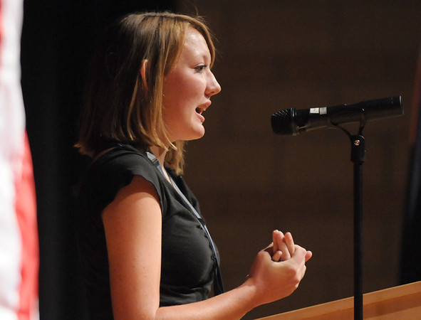 Sophomore Alyssa Higgins, 15, introduces Congressman Jared Polis, 2nd Congressional District,  to the students in the Legacy 2000 program, on Thursday, in the auditorium of Legacy High School.  Higgins, 15, an intern for Polis, arranged for the Congressman to come and speak to the class.<br /> Sept. 3, 2009<br /> staff photo/David R. Jennings