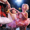 Maddison Spencer, 4, left, and Evelyn Peterson, 4, talk to student ballerinas after the School of Ballet Nouveau Colorado's Student Company's performance of Coppelia Thursday at the Audi.<br /> May 13, 2010<br /> Staff photo/ David R. Jennings