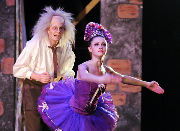 Sean Watson, left, Dr. Coppelius, BNC professional company member,  performs with Kaitlan Smallwood, Swanilda,  during School of Ballet Nouveau Colorado's Student Company's performance of Coppelia Thursday at the Audi.<br /> May 13, 2010<br /> Staff photo/ David R. Jennings