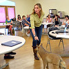 Mary Ann Bonnell, City of Aurora naturalist, explains different behaviors of coyotes interacting with a mannequin coyote during her coyote observer training course as a part of the Denver Metro Area Coyote Behavior Study at the Broomfield Community Center on Thursday.<br /> <br /> June21, 2012<br /> staff photo/ David R. Jennings