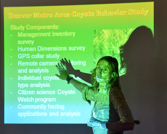 Mary Ann Bonnell, City of Aurora naturalist, explains aspects of the Denver Metro Area Coyote Behavior Study during her coyote observer training course at the Broomfield Community Center on Thursday.<br /> June21, 2012<br /> staff photo/ David R. Jennings
