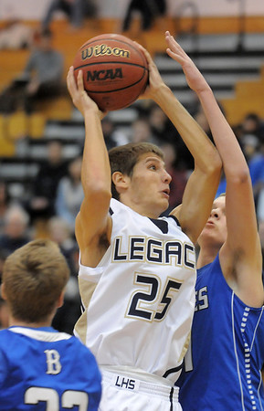 Legacy's Mitch McCall goes to the basket against Broomfield during Saturday's cross town game at Legacy.<br /> January 7, 2012<br /> staff photo/ David R. Jennings