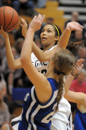 Legacy's Kailey Edwards goes to the basket against Broomfield during Saturday's cross town game at Legacy.<br /> January 7, 2012<br /> staff photo/ David R. Jennings