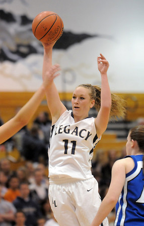 Legacy's Emily Glen shoots the ball agaisnt Broomfield during Saturday's cross town game at Legacy.<br /> January 7, 2012<br /> staff photo/ David R. Jennings