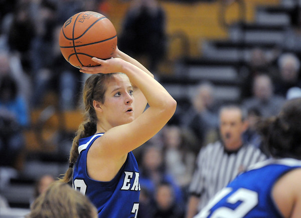 Broomfield's Meagan Prins shoots a foul shot against Legacy during Saturday's cross town game at Legacy.<br /> January 7, 2012<br /> staff photo/ David R. Jennings