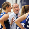 Broomfield's head coach Mike Croell talks with Meagan Prins during a time out during Saturday's cross town game against Legacy at Legacy.<br /> January 7, 2012<br /> staff photo/ David R. Jennings