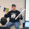 "Phillip ""Big Dog"" Jones, author of the Worlds of the Crystal Moon, and alumnus of Broomfield High School speaks to students in the school library on Friday. <br /> <br /> April 16, 2010<br /> Staff photo/David R. Jennings"