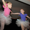 Primary ballet dancers Tanith Britton, left, and Kristyn Cardamone, both 5 years old, dance during Friday's gala celebrating 50 years of dance with Dance Arts Studio at the Chateau at Fox Meadows. <br /> November 12, 2010<br /> staff photo/David R. Jennings