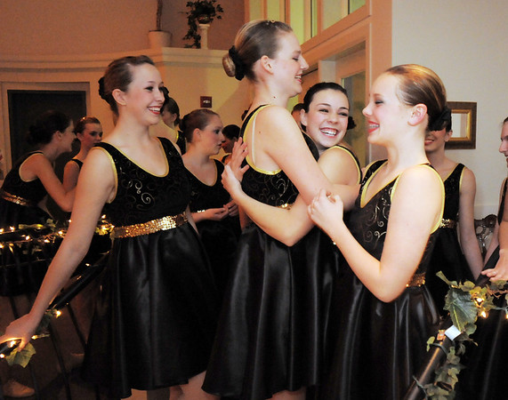 Fusion dance troupe members, Gloria Fuhrman, left, Katie Bernatis, Demi Andrews and Gracie Lee are excited about performing with their dance troupe, Fusion, for Friday's gala celebrating 50 years of dance with Dance Arts Studio at the Chateau at Fox Meadows. <br /> November 12, 2010<br /> staff photo/David R. Jennings
