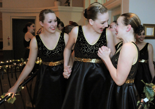 Fusion dance troupe members, Gloria Fuhrman, left, Katie Bernatis and Gracie Lee get excited about performing for Friday's gala celebrating 50 years of dance with Dance Arts Studio at the Chateau at Fox Meadows. <br /> November 12, 2010<br /> staff photo/David R. Jennings