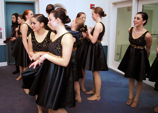Members of Dance Arts Studio dance troupe, Fusion, wait to perform for Friday's gala celebrating 50 years of dance with Dance Arts Studio at the Chateau at Fox Meadows. <br /> November 12, 2010<br /> staff photo/David R. Jennings