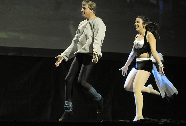 John Long and Carlee Taga (Taps 'N toes Dance Studio) perform their winning dance at Dancing With The Broomfield Stars at the 1stBank Center on Wednesday.<br /> September 22, 2011<br /> staff photo/ David R. Jennings