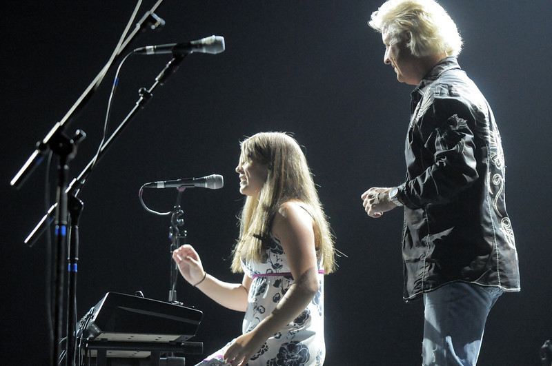 Jessica Long, left, performs with her father Phil Long  at Dancing With The Broomfield Stars at the 1stBank Center on Wednesday.<br /> September 22, 2011<br /> staff photo/ David R. Jennings