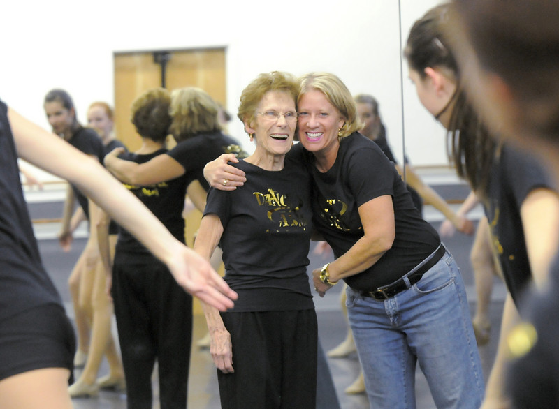 Dance Arts Studio founder Jane Spain and Heidi Thomas, current owner and a former student of Spain, watch Thursday's rehearsal of the advanced class for the 50th anniversary celebration.<br /> <br /> October 28, 2010<br /> staff photo/David R. Jennings