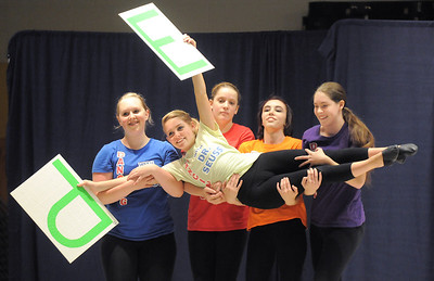 "Dancer Emily Westbrook, 14, is carried by cast members while dancing to the Dr. Seuss book, ""ABC""  during Wednesday's Children's Dance Theater""s performance of Dancing With Dr. Seuss at Kohl Elementary School. September 14, 2011 staff photo/ David R. Jennings"