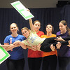 "Dancer Emily Westbrook, 14, is carried by cast members while dancing to the Dr. Seuss book, ""ABC""  during Wednesday's Children's Dance Theater""s performance of Dancing With Dr. Seuss at Kohl Elementary School.<br /> September 14, 2011<br /> staff photo/ David R. Jennings"