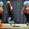Tiana Threlkel, 17, center, as the Cat in the Hat, dances with Grace Peketz, 14, left, as Thing 1, and Elise Timme, 15, as Thing 2, during Wednesday's Children's Dance Theater's performance of Dancing With Dr. Seuss at Kohl Elementary School.<br /> September 14, 2011<br /> staff photo/ David R. Jennings