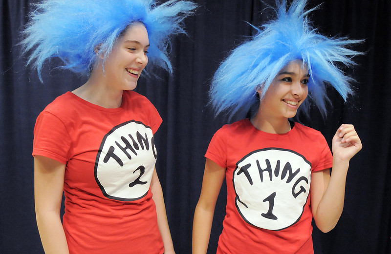 Elise Timme, 15, left, as Thing 2, and Grace Peketz, 14, as Thing 1, prepare for  Wednesday's Children's Dance Theater's performance of Dancing With Dr. Seuss at Kohl Elementary School.<br /> September 14, 2011<br /> staff photo/ David R. Jennings