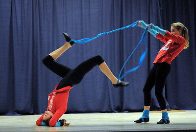 "Gabby Green, 15, left, and Emily Westbrook, 14, dance to the book ""Fox In Socks"" during Wednesday's Children's Dance Theater performance of Dancing With Dr. Seuss at Kohl Elementary School. September 14, 2011 staff photo/ David R. Jennings"