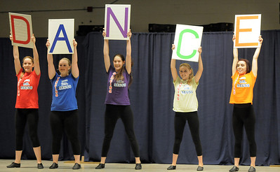 "Children's Dance Theater cast members spell dance during the dance to the Dr. Seuss book, ""ABC"" at Wednesday's performance of Dancing With Dr. Seuss at Kohl Elementary School. September 14, 2011 staff photo/ David R. Jennings"