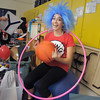 Grace Peketz, 14, as Thing 1, gets ready back stage before Wednesday's Children's Dance Theater's performance of Dancing With Dr. Seuss at Kohl Elementary School.<br /> September 14, 2011<br /> staff photo/ David R. Jennings