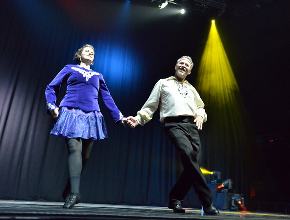 Phil Kennedy performs an Irish Step dance with Kelseigh Fulton with the  Heritage Irish Stepdancers at the 3rd Annual Dancing with the Broomfield Stars at the 1stBank Center on Thursday. <br /> September 20, 2012<br /> staff photo/ David R. Jennings