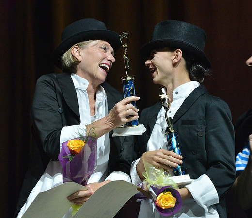 Penny TerHar, left, and dance partner, Dawn Fay, Ballet Nouveau Colorado associate artistic director, hold their trophies after winning the 3rd Annual Dancing with the Broomfield Stars at the 1stBank Center on Thursday. Dancing with the Broomfield Stars is a fundraiser for the Broomfield Community Foundation.<br /> September 20, 2012<br /> staff photo/ David R. Jennings