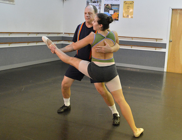 Dancing with the Broomfield Stars star, Tom Schiola,  dances with Danse Etoile Ballet instructor Sophie Payannet during a rehearsal at Dance Arts Studio.<br />  August 17, 2012<br /> staff photo/ David R. Jennings