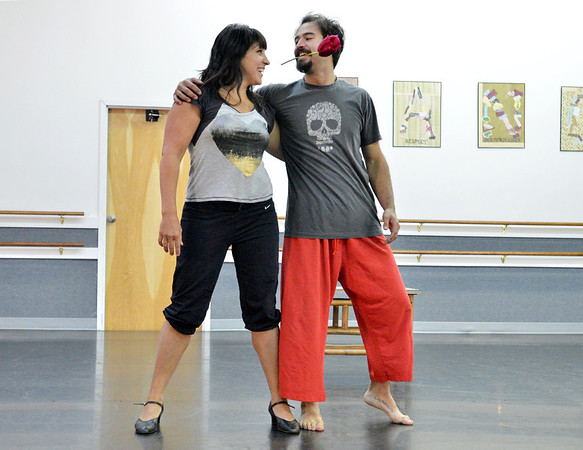 Dancing with the Broomfield Stars star, Tracy Owen,  dances with Ascential Dance instructor Chris Meis during a rehearsal at Dance Arts Studio.<br />  August 17, 2012<br /> staff photo/ David R. Jennings