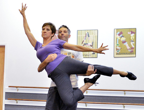 Dancing with the Broomfield Stars star, Linda Erley, front, dances with Up With People instructor Ken Leist during a rehearsal at Dance Arts Studio.<br />  August 17, 2012<br /> staff photo/ David R. Jennings