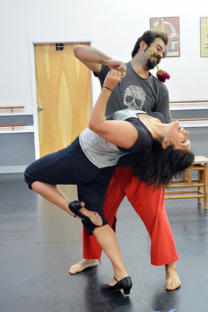 Dancing with the Broomfield Stars star, Tracy Owen, front, dances with Ascential Dance instructor Chris Meis during a rehearsal at Dance Arts Studio.<br />  August 17, 2012<br /> staff photo/ David R. Jennings
