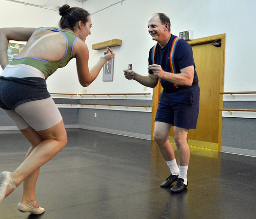 Dancing with the Broomfield Stars star, Tom Schiola, right,  dances with Danse Etoile Ballet instructor Sophie Payannet during a rehearsal at Dance Arts Studio.<br />  August 17, 2012<br /> staff photo/ David R. Jennings