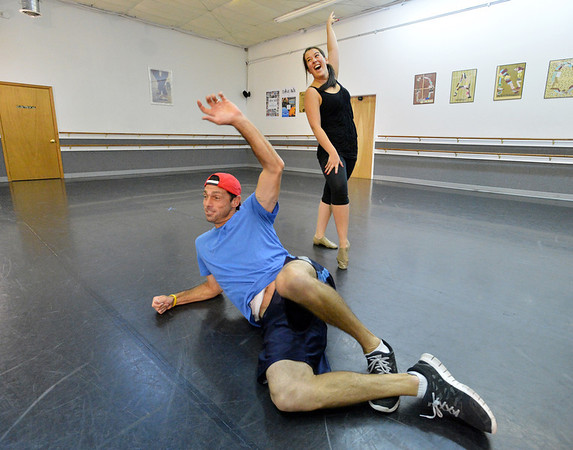 Dancing with the Broomfield Stars star, Brandon Smith, front, dances with Taps N Toes instructor Carlee Taga during a rehearsal at Dance Arts Studio.<br />  August 17, 2012<br /> staff photo/ David R. Jennings
