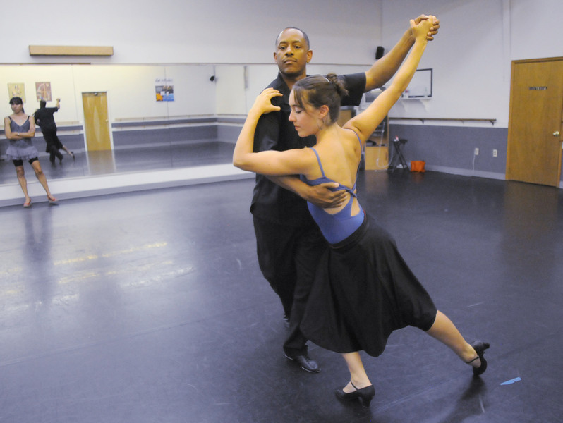 Ken Brown and Sophie Payannet rehearse their routine for Dancing with the Broomfield Stars.<br /> <br /> September, 2010<br /> staff photo/David R. Jennings