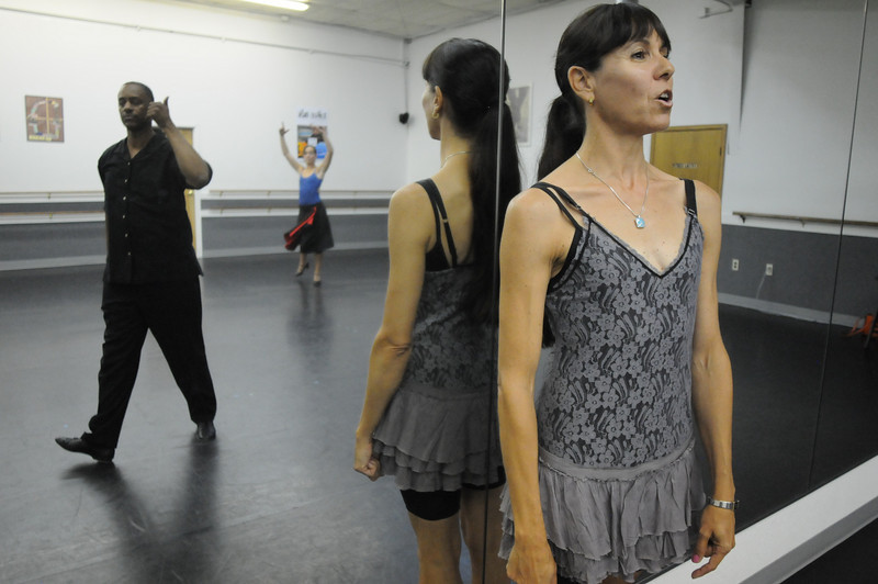Marie-Jose Payannet helps Ken Brown and Sophie Payannet rehearse their routine for Dancing with the Broomfield Stars.<br /> September, 2010<br /> staff photo/David R. Jennings