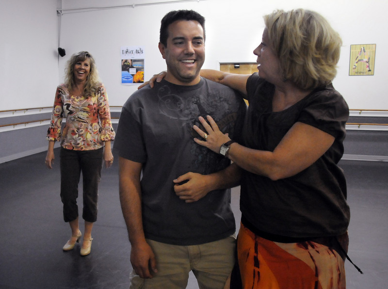 Heidi Thomas, right, gives some pointers to Jennifer Kerr and Tony Trujillo during a rehearsal for Dancing with the Broomfield Stars.<br /> <br /> September, 2010<br /> staff photo/David R. Jennings