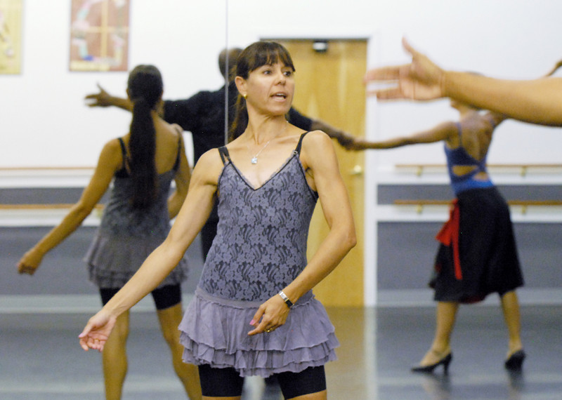 Marie-Jose Payannet gives advise on the routine of Ken Brown and Sophie Payannet for Dancing with the Broomfield Stars.<br /> <br /> September, 2010<br /> staff photo/David R. Jennings