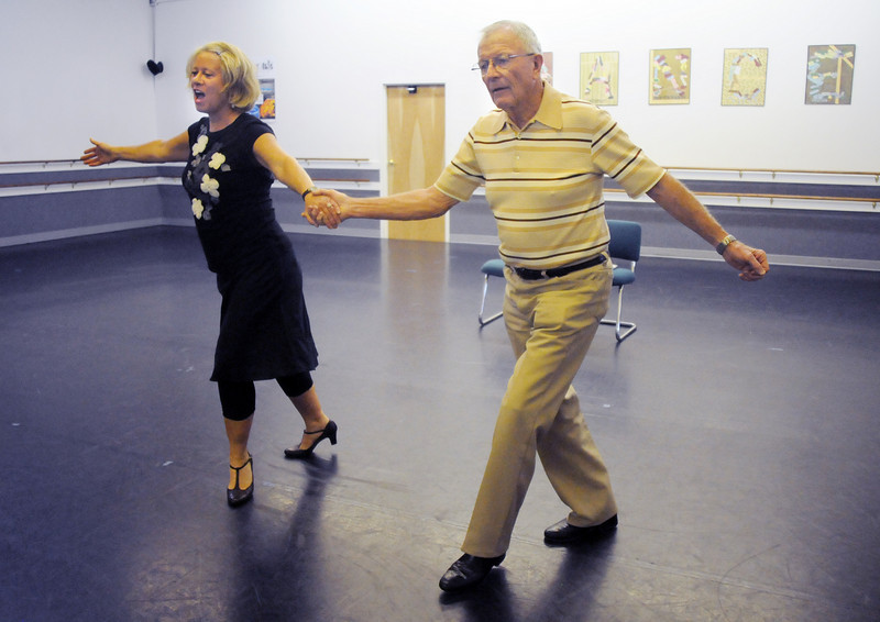 Dr. Bill Markel and Heidi Thomas rehearse their routine for Dancing with the Broomfield Stars.<br /> <br /> September, 2010<br /> staff photo/David R. Jennings
