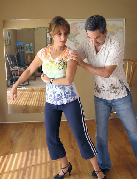 Gina Coufal and Eric Freeman rehearse their routine for Dancing with the Broomfield Stars.<br /> <br /> September, 2010<br /> courtesy photo