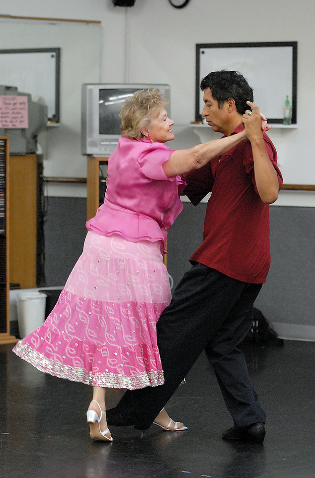 Marlene Politzer and Jess Rodriguez rehearse their routine for Dancing with the Broomfield Stars.<br /> <br /> September, 2010<br /> staff photo/David R. Jennings