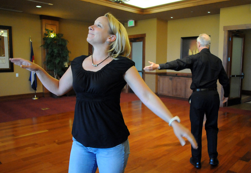 Cindy Gerhardt and Keith Forstrom rehearse their routine for Dancing with the Broomfield Stars.<br /> <br /> September, 2010<br /> staff photo/David R. Jennings