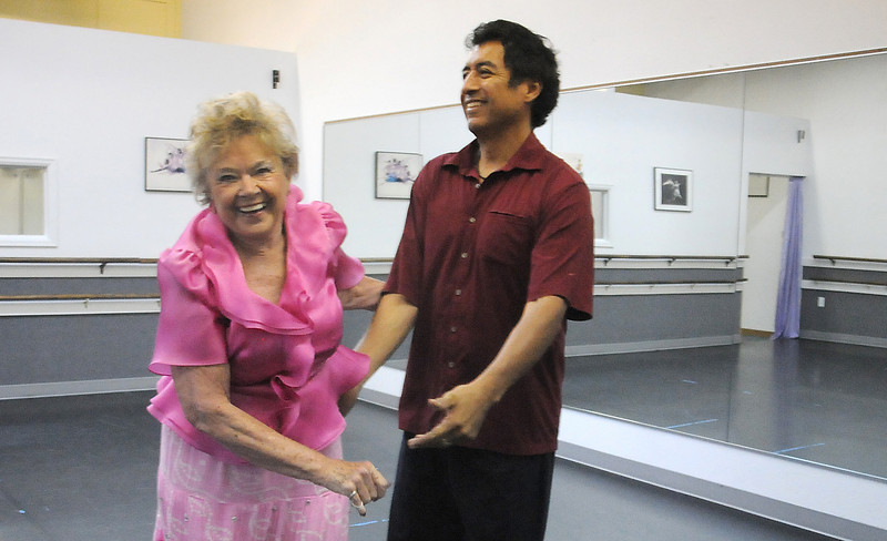 Marlene Politzer and Jess Rodriguez have a laugh during rehearsal for their routine for Dancing with the Broomfield Stars.<br /> <br /> September, 2010<br /> staff photo/David R. Jennings