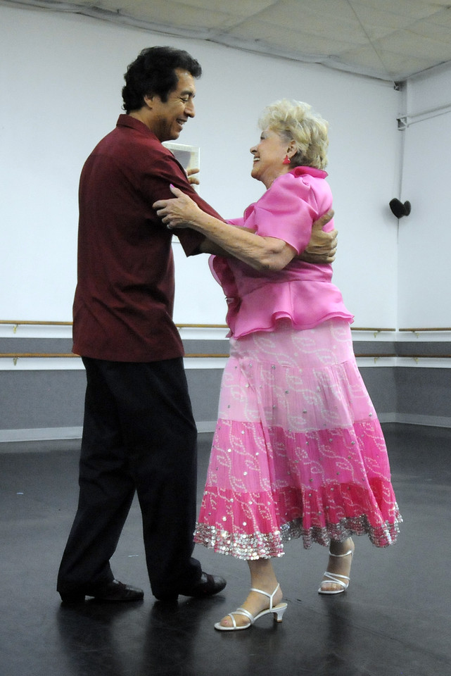 Jess Rodriguez and Marlene Politzer rehearse their routine for Dancing with the Broomfield Stars.<br /> <br /> September, 2010<br /> staff photo/David R. Jennings
