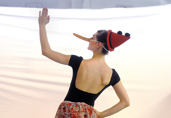 Natalie Roubique (Pinnochio) dances behind a screen during rehearsal for the Danse Etoile Ballet production of Pinnochio on Monday.<br /> May 23, 2011<br /> staff photo/David R. Jennings
